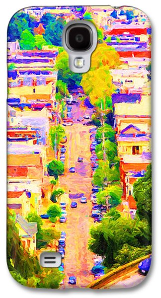 Long Street Digital Art Galaxy S4 Cases - Noe Street in San Francsico 2 . Long Cut Galaxy S4 Case by Wingsdomain Art and Photography