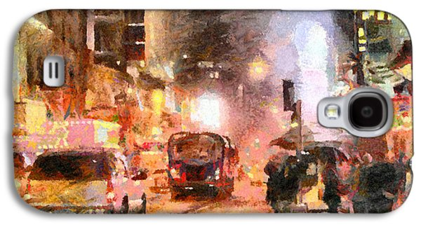 Times Square Digital Art Galaxy S4 Cases - NYC at Night Galaxy S4 Case by Anthony Caruso