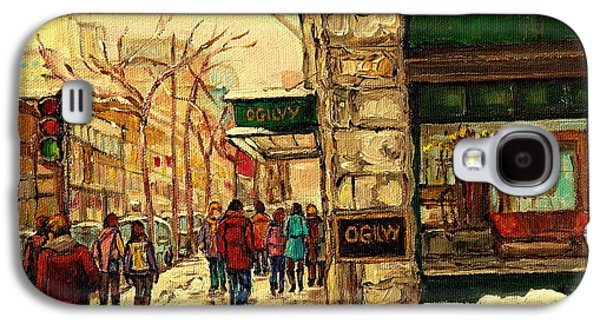Montreal Street Life Paintings Galaxy S4 Cases - Ogilvys Department Store Downtown Montreal Galaxy S4 Case by Carole Spandau
