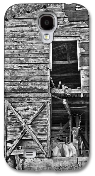 Old House Photographs Galaxy S4 Cases - Old Barn Door in Black and White Galaxy S4 Case by Debra and Dave Vanderlaan