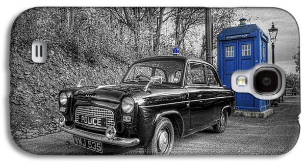 Tardis Galaxy S4 Cases - Old British Police Car And Tardis Galaxy S4 Case by Yhun Suarez