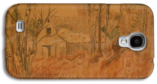 Old Barn Drawing Drawings Galaxy S4 Cases - Old Farm Galaxy S4 Case by Carman Turner