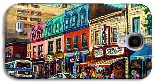 Montreal Street Life Paintings Galaxy S4 Cases - Old Montreal Schwartzs Deli Plateau Montreal City Scenes Galaxy S4 Case by Carole Spandau