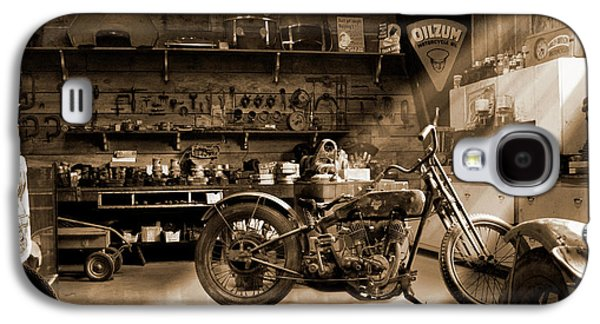 Horizontal Digital Art Galaxy S4 Cases - Old Motorcycle Shop Galaxy S4 Case by Mike McGlothlen