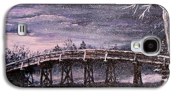 New England Snow Scene Paintings Galaxy S4 Cases - Old North Bridge in Winter Galaxy S4 Case by Jack Skinner