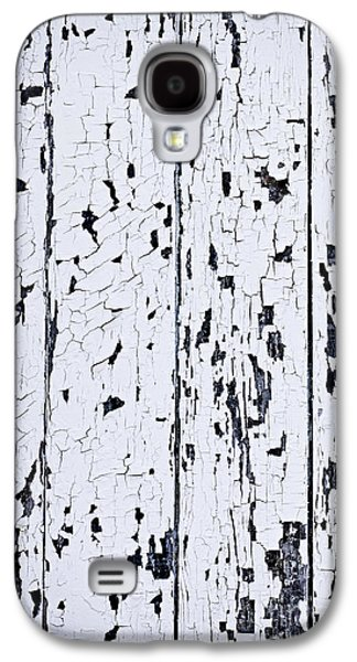 Textural Galaxy S4 Cases - Old painted wood abstract Galaxy S4 Case by Elena Elisseeva