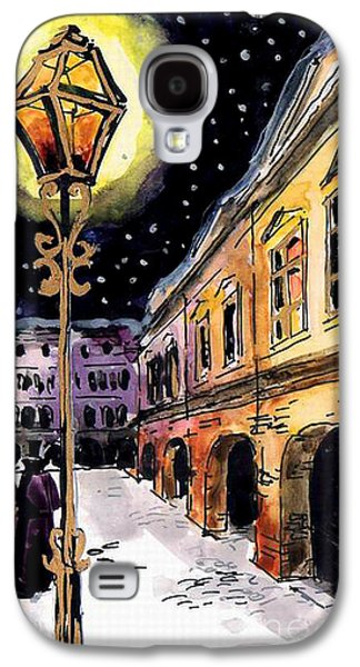 Night Lamp Paintings Galaxy S4 Cases - Old Time Evening Galaxy S4 Case by Mona Edulesco