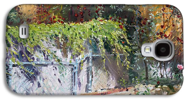 Fence Paintings Galaxy S4 Cases - On The Backyard of my Studio Galaxy S4 Case by Ylli Haruni