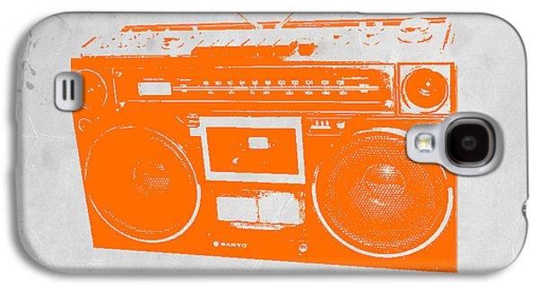 Radio Galaxy S4 Cases - Orange boombox Galaxy S4 Case by Naxart Studio