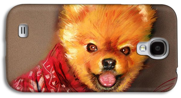 Dogs Pastels Galaxy S4 Cases - Orange in Red Galaxy S4 Case by Ylli Haruni