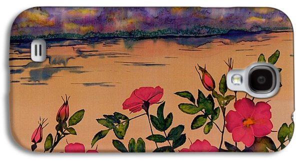 Dye Tapestries - Textiles Galaxy S4 Cases - Orange Sun over Wild Roses Galaxy S4 Case by Carolyn Doe