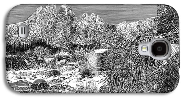 Pen And Ink Framed Prints Galaxy S4 Cases - Organ Mountain Wintertime Galaxy S4 Case by Jack Pumphrey