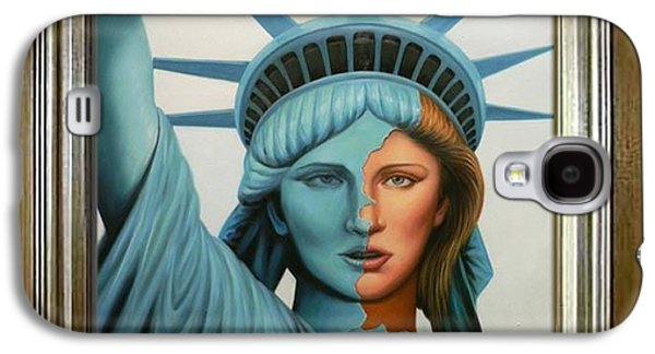 Statue Portrait Drawings Galaxy S4 Cases - Original oil painting Statue of Liberty on canvas Galaxy S4 Case by Hongtao     Huang