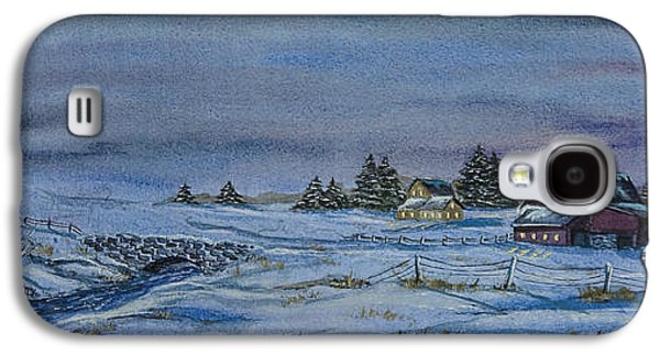New England Snow Scene Paintings Galaxy S4 Cases - Over The Bridge And Through The Snow Galaxy S4 Case by Charlotte Blanchard