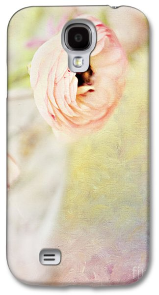 Painterly Pink Ranunculus In Vase Galaxy S4 Case by Susan Gary