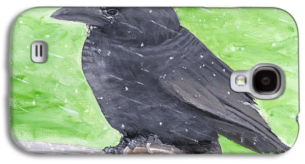 Crows Paintings Galaxy S4 Cases - Painting Of Crow In Snowstorm Galaxy S4 Case by Keith Webber Jr