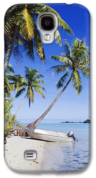 Beach Landscape Galaxy S4 Cases - Palm Trees and Motorized Dinghy Galaxy S4 Case by Jeremy Woodhouse