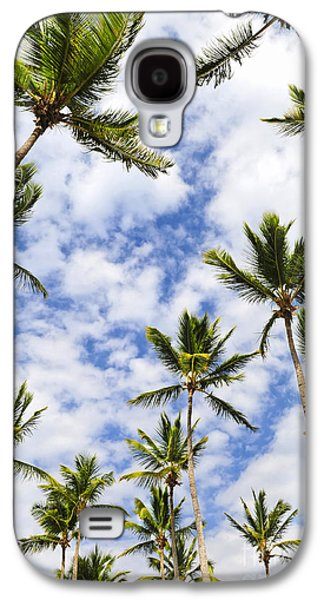 Blue Abstracts Galaxy S4 Cases - Palm trees Galaxy S4 Case by Elena Elisseeva