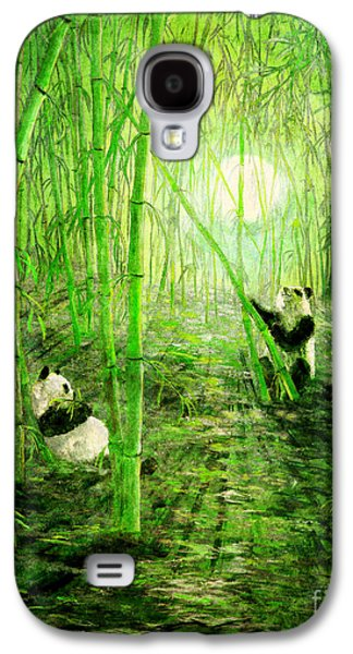 Monochromatic Digital Galaxy S4 Cases - Pandas in Springtime Bamboo Galaxy S4 Case by Laura Iverson