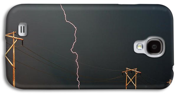 Lightning Digital Art Galaxy S4 Cases - Panoramic Lightning Storm and Power Poles Galaxy S4 Case by Mark Duffy