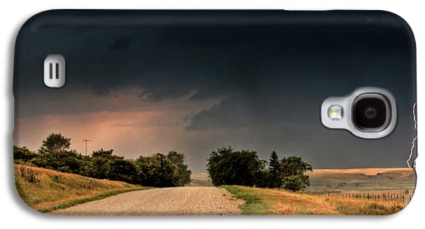 Lightning Digital Art Galaxy S4 Cases - Panoramic Lightning Storm in the Prairie Galaxy S4 Case by Mark Duffy