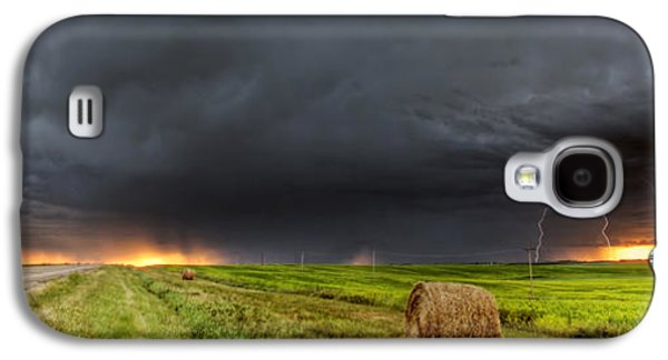 Lightning Digital Art Galaxy S4 Cases - Panoramic Lightning Storm in the Prairies Galaxy S4 Case by Mark Duffy