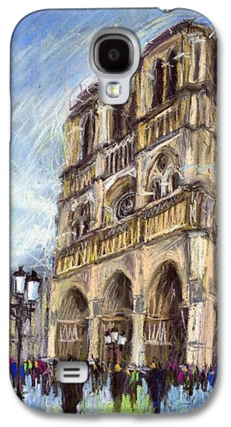 Impressionism Pastels Galaxy S4 Cases - Paris Notre-Dame de Paris Galaxy S4 Case by Yuriy  Shevchuk