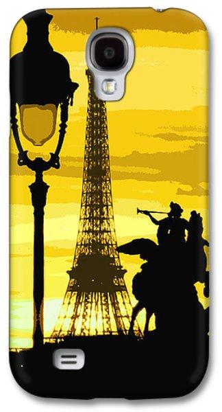 Light Galaxy S4 Cases - Paris Tour Eiffel Yellow Galaxy S4 Case by Yuriy  Shevchuk
