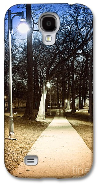 Streetlight Photographs Galaxy S4 Cases - Park path at night Galaxy S4 Case by Elena Elisseeva