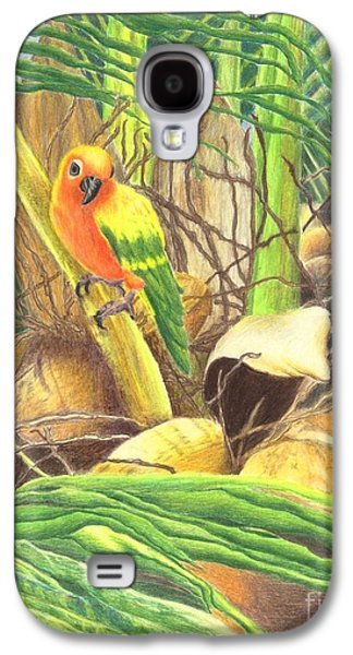 Yellow Jewelry Galaxy S4 Cases - Parrot in Palm Galaxy S4 Case by Norma Gafford
