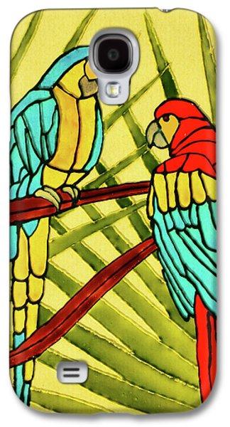 Bright Colors Glass Art Galaxy S4 Cases - Parrots Galaxy S4 Case by Farah Faizal