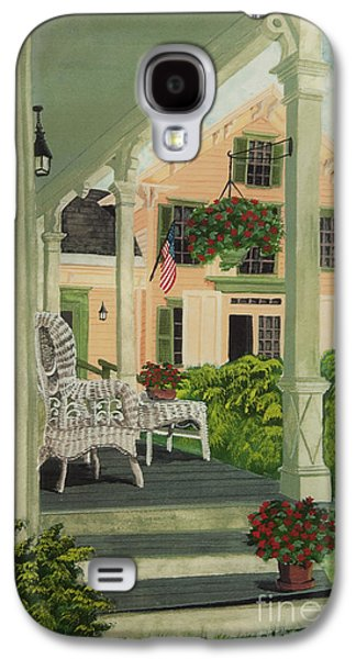 4th July Paintings Galaxy S4 Cases - Patriotic Country Porch Galaxy S4 Case by Charlotte Blanchard