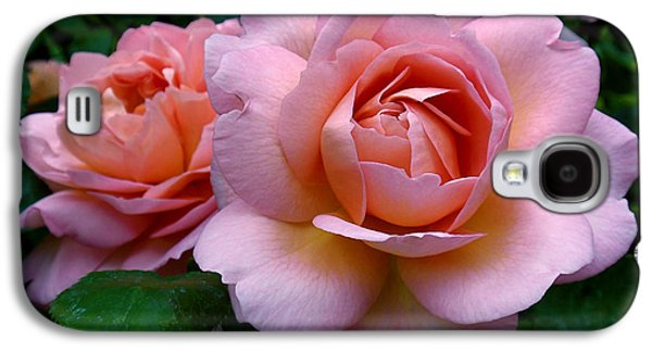 Rosaceae Galaxy S4 Cases - Peachy Pink Galaxy S4 Case by Rona Black