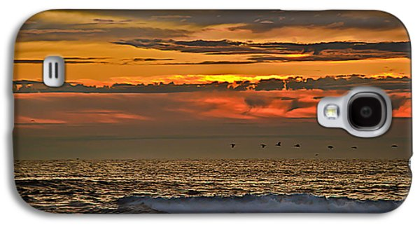 Haybale Galaxy S4 Cases - Pelicans Flying Home Galaxy S4 Case by Robert Bales