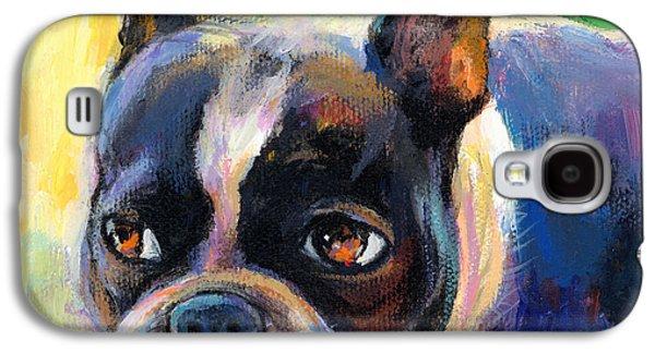 Puppy Drawings Galaxy S4 Cases - Pensive Boston Terrier dog painting Galaxy S4 Case by Svetlana Novikova