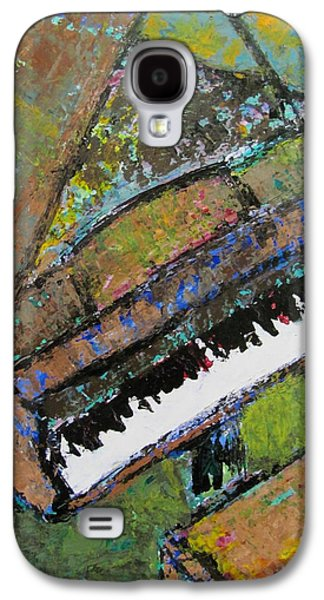 Splashy Paintings Galaxy S4 Cases - Piano Aqua Wall - cropped Galaxy S4 Case by Anita Burgermeister
