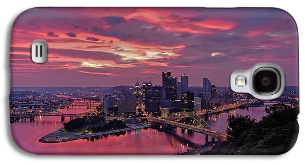Roberto Clemente Galaxy S4 Cases - Pittsburgh Dawn Galaxy S4 Case by Jennifer Grover