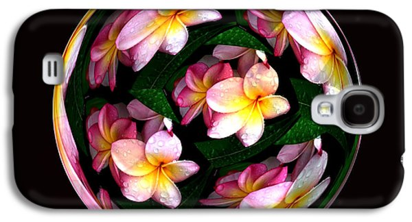 Photo Manipulation Galaxy S4 Cases - Plumeria Tile Ball Galaxy S4 Case by Cheryl Young