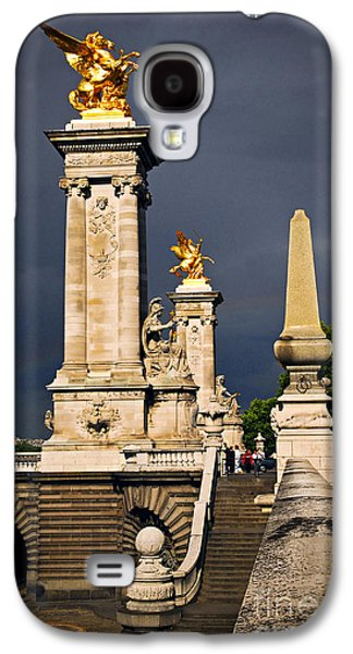 Landmarks Photographs Galaxy S4 Cases - Pont Alexander III in Paris before storm Galaxy S4 Case by Elena Elisseeva