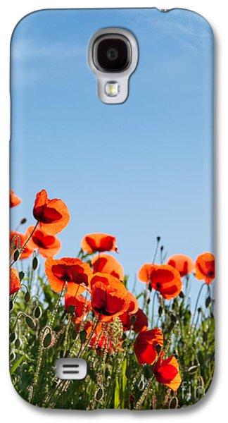 Botanical Galaxy S4 Cases - Poppy Flowers 01 Galaxy S4 Case by Nailia Schwarz
