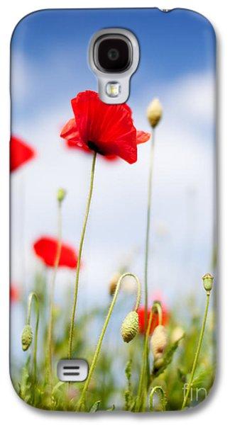 Botanical Galaxy S4 Cases - Poppy Flowers 06 Galaxy S4 Case by Nailia Schwarz