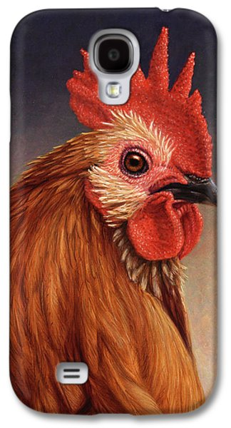 Farm Galaxy S4 Cases - Portrait of a Rooster Galaxy S4 Case by James W Johnson