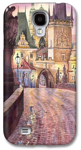 Galaxy S4 Cases - Prague Charles Bridge Night Light 1 Galaxy S4 Case by Yuriy  Shevchuk