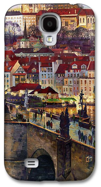 Bridge Galaxy S4 Cases - Prague Charles Bridge with the Prague Castle Galaxy S4 Case by Yuriy  Shevchuk