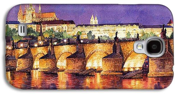 Light Galaxy S4 Cases - Prague Night Panorama Charles Bridge  Galaxy S4 Case by Yuriy  Shevchuk