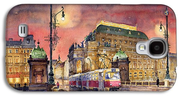 Bridge Galaxy S4 Cases - Prague  Night Tram National Theatre Galaxy S4 Case by Yuriy  Shevchuk