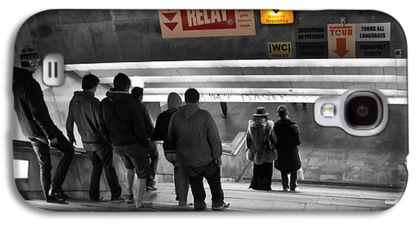 Abstract Movement Photographs Galaxy S4 Cases - Prague Underground Station Stairs Galaxy S4 Case by Stylianos Kleanthous