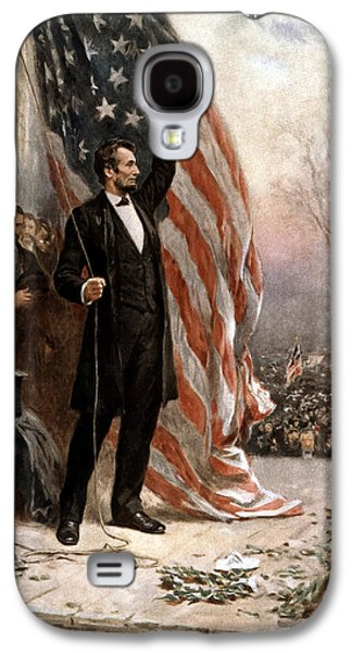 Flag Paintings Galaxy S4 Cases - President Abraham Lincoln Giving A Speech Galaxy S4 Case by War Is Hell Store