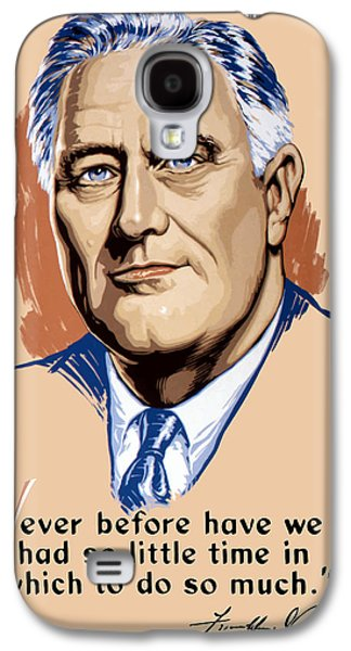 Democrat Mixed Media Galaxy S4 Cases - President Franklin Roosevelt and Quote Galaxy S4 Case by War Is Hell Store