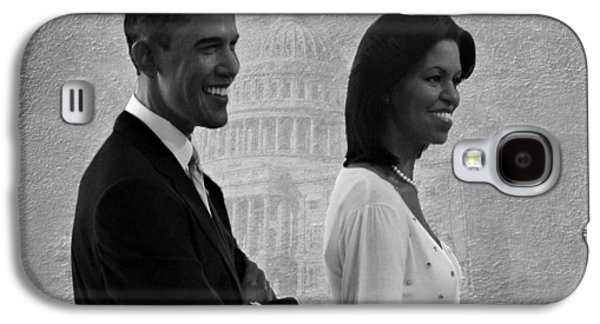 Michelle Obama Photographs Galaxy S4 Cases - President Obama and First Lady BW Galaxy S4 Case by David Dehner